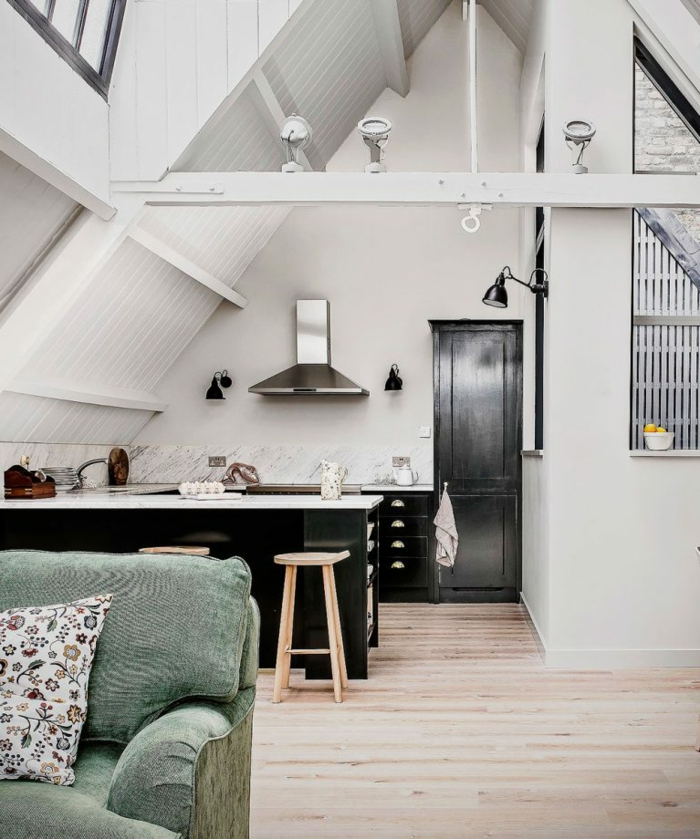 cocinas rusticas modernas con isla, espacio abuhardillado, salón comedor moderno, cocina pequeña en blanco y negro