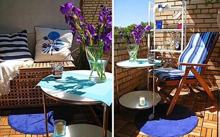 dos ideas coloridas sobre cómo decorar balcon pequeño, decoración en blanco, azul y lila