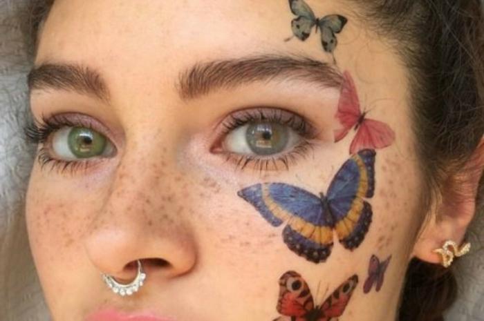 alucinantes ideas de tatuajes temporales para mujeres, diseños de tatuajes de mariposas adhesivos