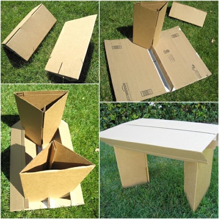 como hacer un muebles de cartón DIY, mesa de cartón funcional, ideas de muebles de carton