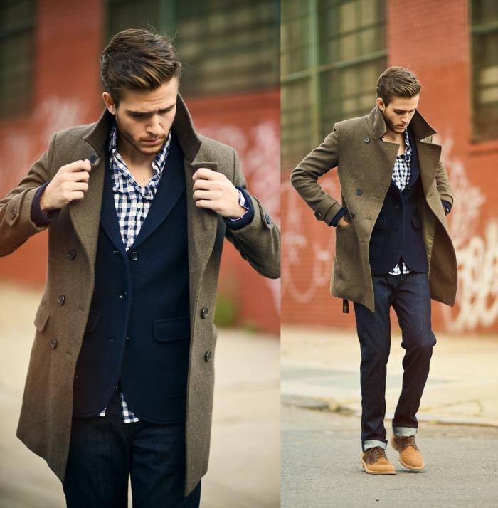 imagines de ropa casual hombre, vaqueros oscuros, chaqueta de lana color azul y abrigo color ocre