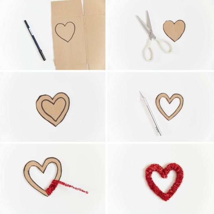 como hacer un corazon de cartulina y limpiapipas en color rojo paso paso, ideas para envolver regalos