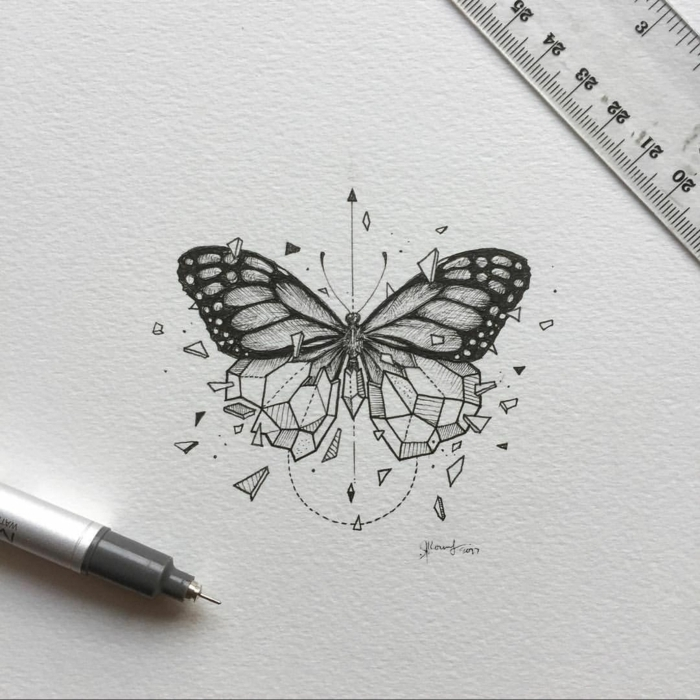 dibujos inspiradores de tatuajes de mariposas, tattoo geométrico, ideas de tatuajes mariposas para que te inspires