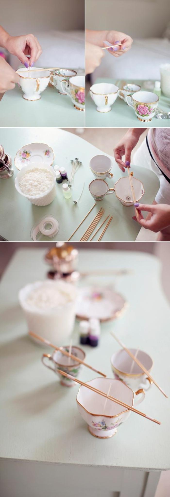 bonitas ideas sobre como hacer velas en casa con tazas de café de porcelana, manualidades fáciles y rápidas