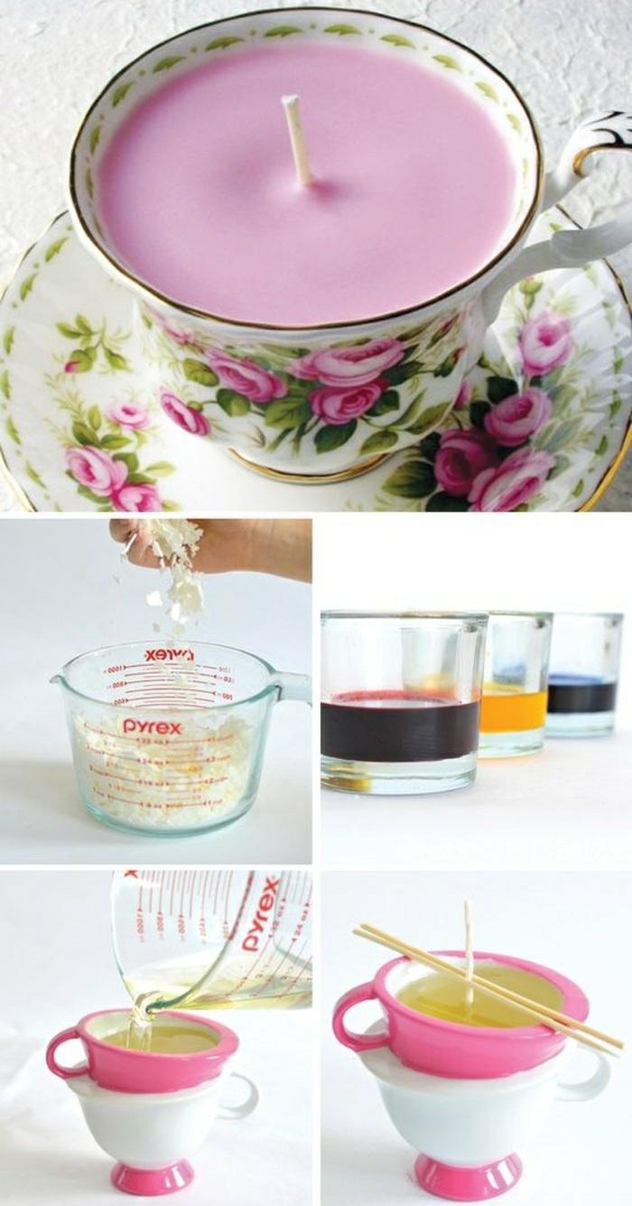 ideas para hacer velas caseras paso a paso, tutoriales en imagines, velas color rosado en tazas de té