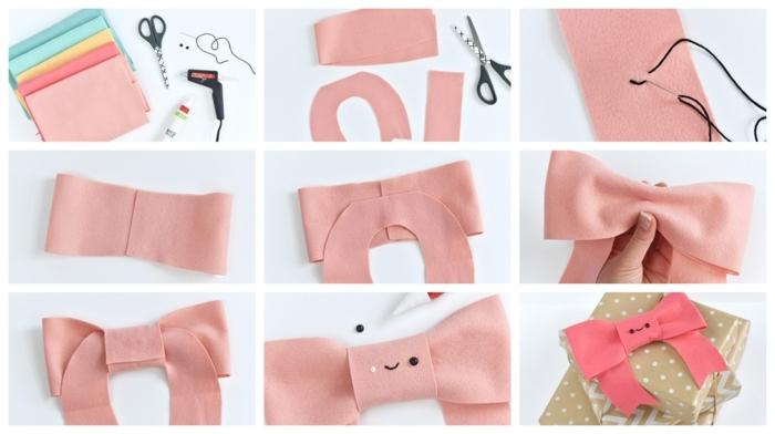 materiales necesarios y pasos para envolver regalos originales, como hacer lazos de fieltro coloridos
