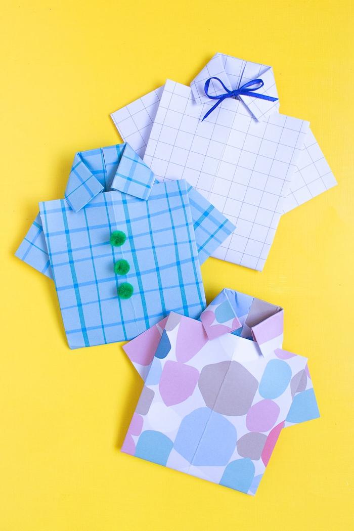 manualidades dia del padre super originales, tarjetas hechas a mano en forma de camisa