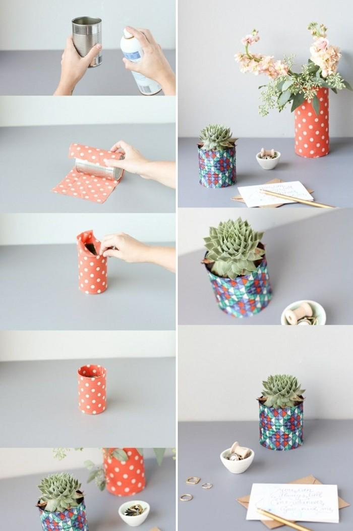 manualidades con latas creativas para decorar el hogar, pequeñas latas decoradas con tela estampada