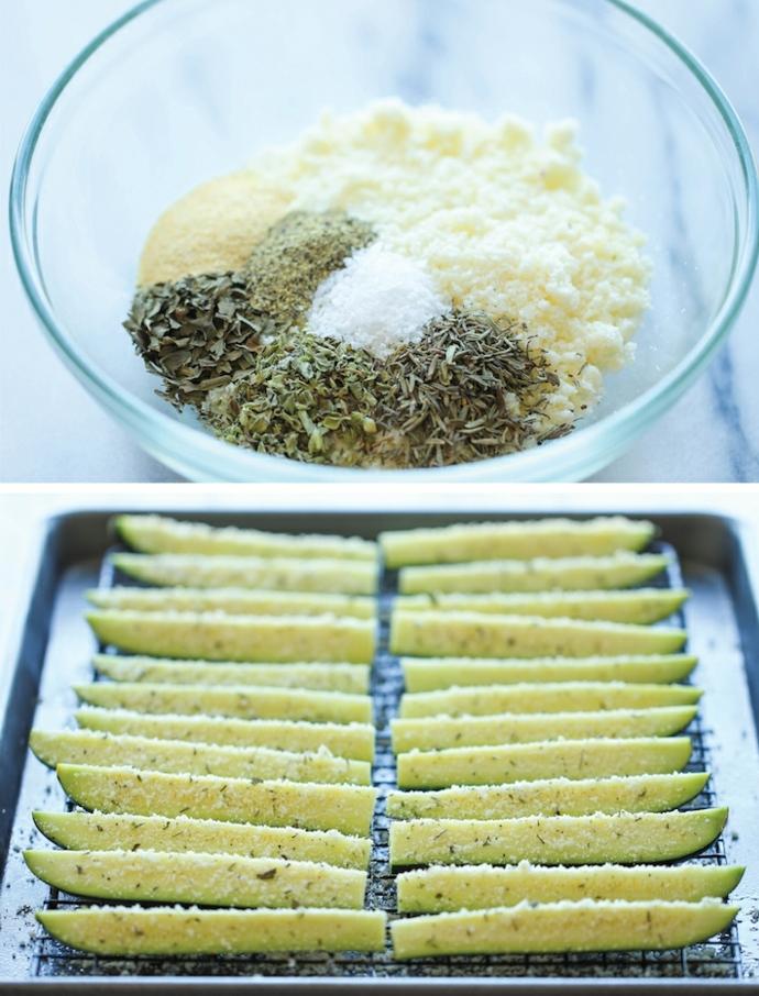 aperitivos fáciles y rápidos paso a paso, calabacines con queso rallado parmesano y especias