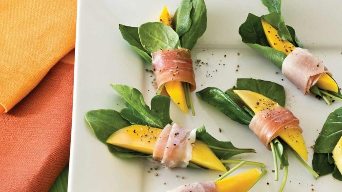 maravillosas ideas de aperitivos faciles y rapidos super ricos, rollos de mango, jamón y espinacas