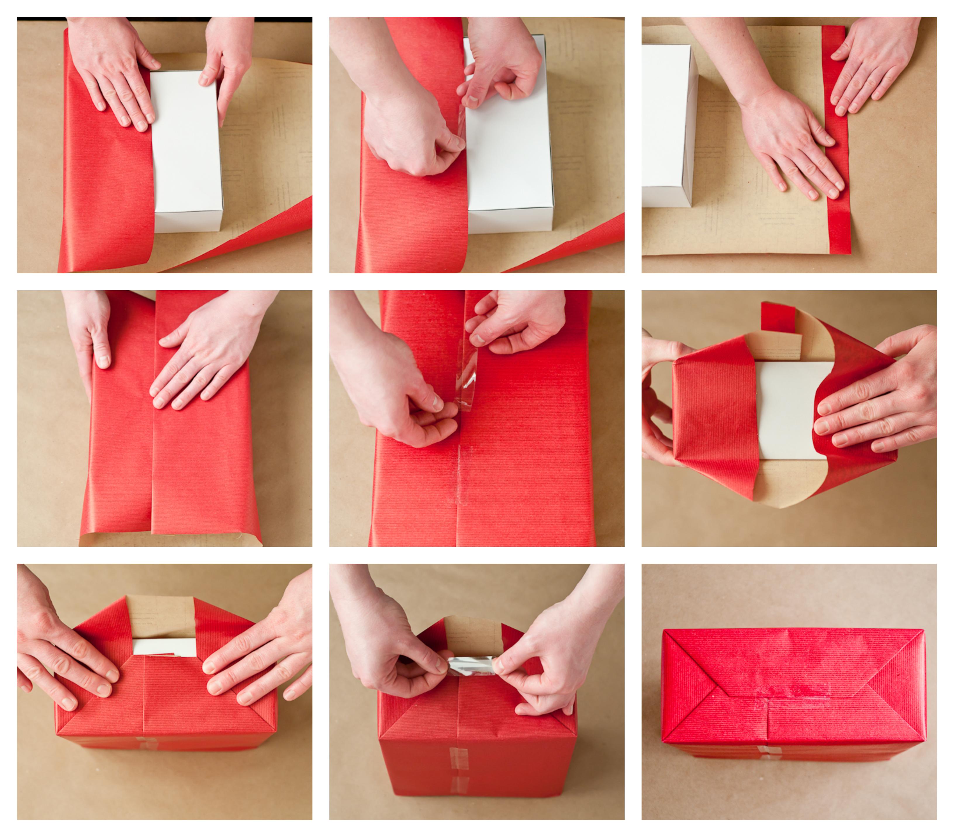pasos para envolver regalos con papel embalaje, caja con regalo envuelta en papel decorativo