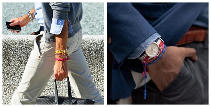 fotos con ideas de ropa casual para hombre, pulseras coloridas, outfit hombre estilo business casual