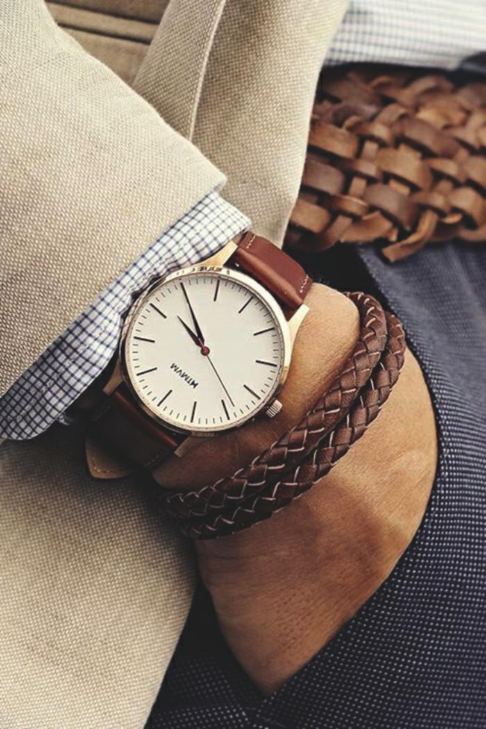 accesorios modernos para ropa casual para hombre, traje de lino color beige, camisa blanca