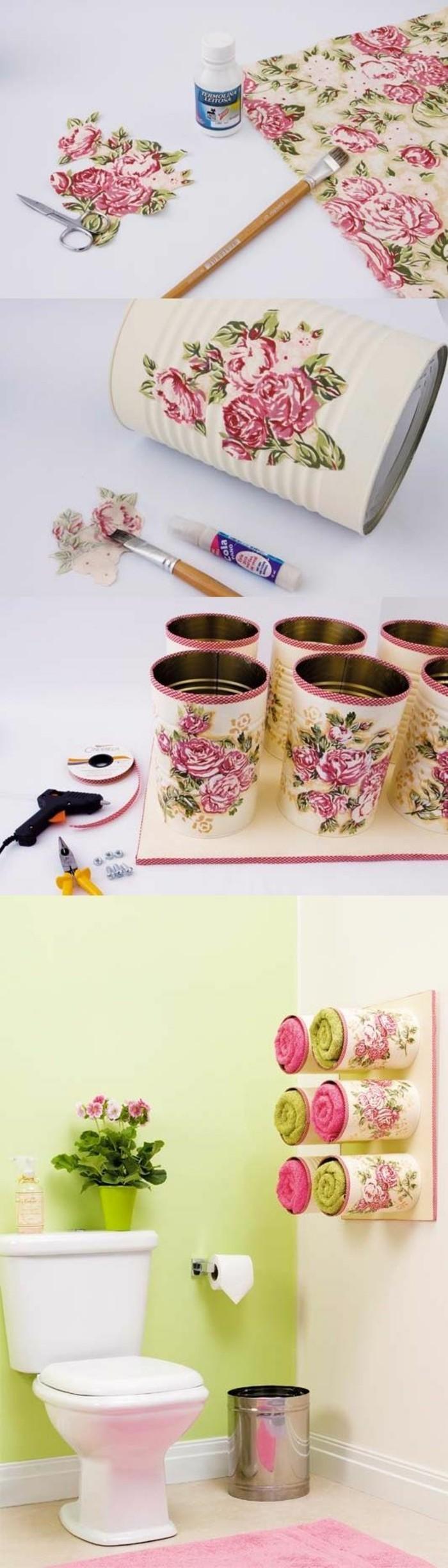 adorable decoración con decoupage para tu baño, latas decoradas con motivos florales paso a paso