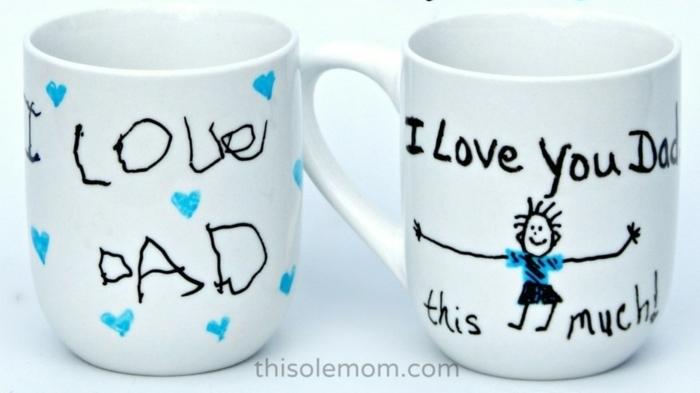 preciosas ideas de manualidades para el dia del padre, tazas de té blancas decoradas con dibujos infantiles