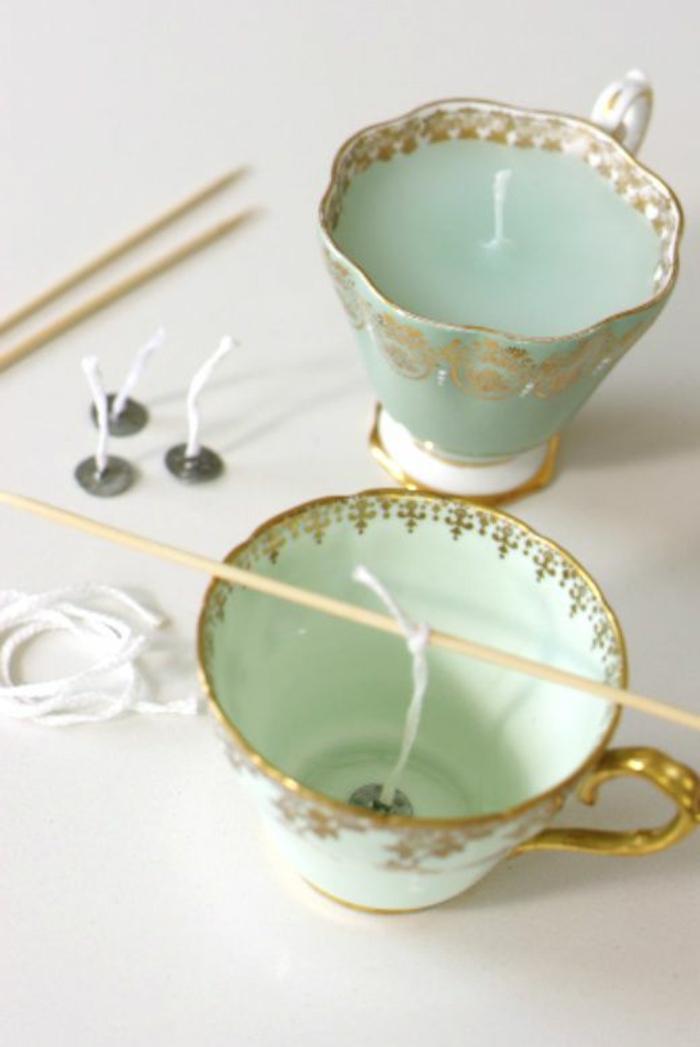 bonitas ideas sobre cómo hacer velas paso a paso, velas decorativas en tazas de té hechas de porcelana