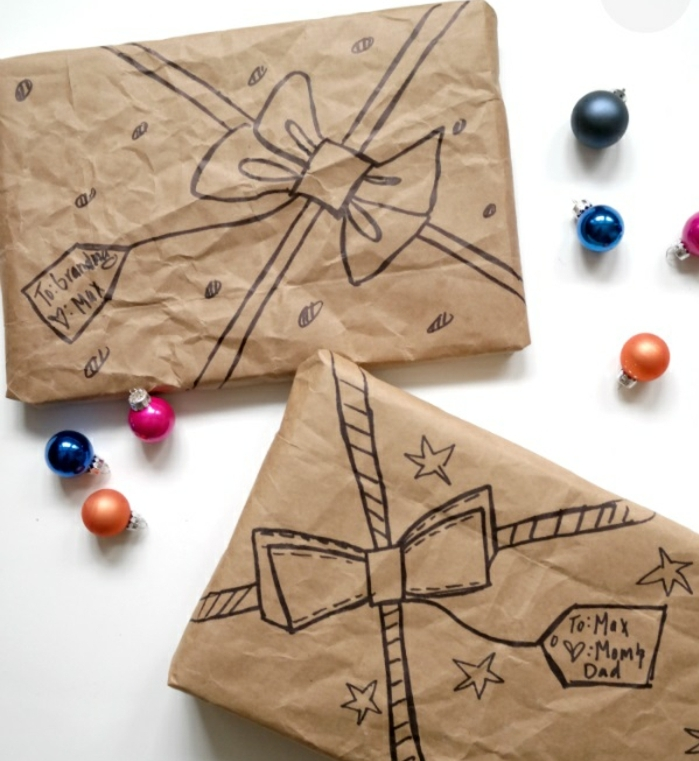 las mejores ideas de embalajes de regalos DIY originales, papel embalaje con dibujos para el Día de la madre
