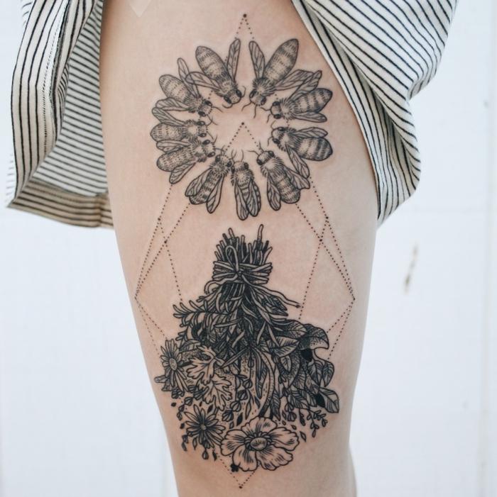 diseños de tatuajes cargados de significado, tatuaje con flores, abejas y figuras geométricas