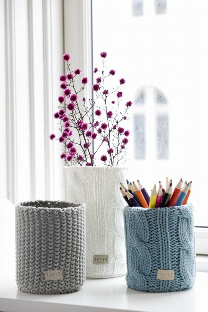 preciosas propuestas de latas decoradas para decorar la casa, latas decoradas con hilo