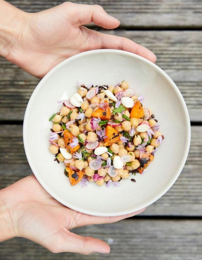 fotos con recetas ensaladas originales, ensalada de frijoles, rabanos, cebolla roja y cebollín