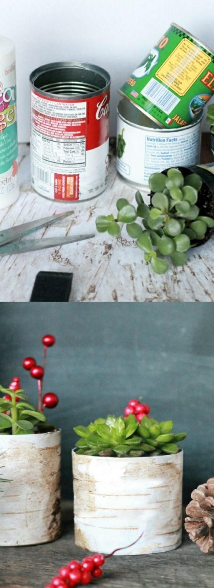 ideas originales de latas decoradas, tutoriales paso a paso, pequeñas macetas DIY creativas