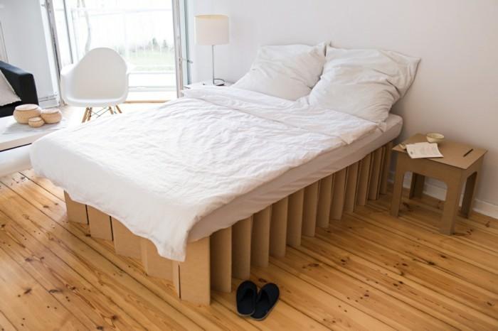 muebles de cartón fáciles y rápidos de hacer para tu dormitorio, habitación en blanco y madera