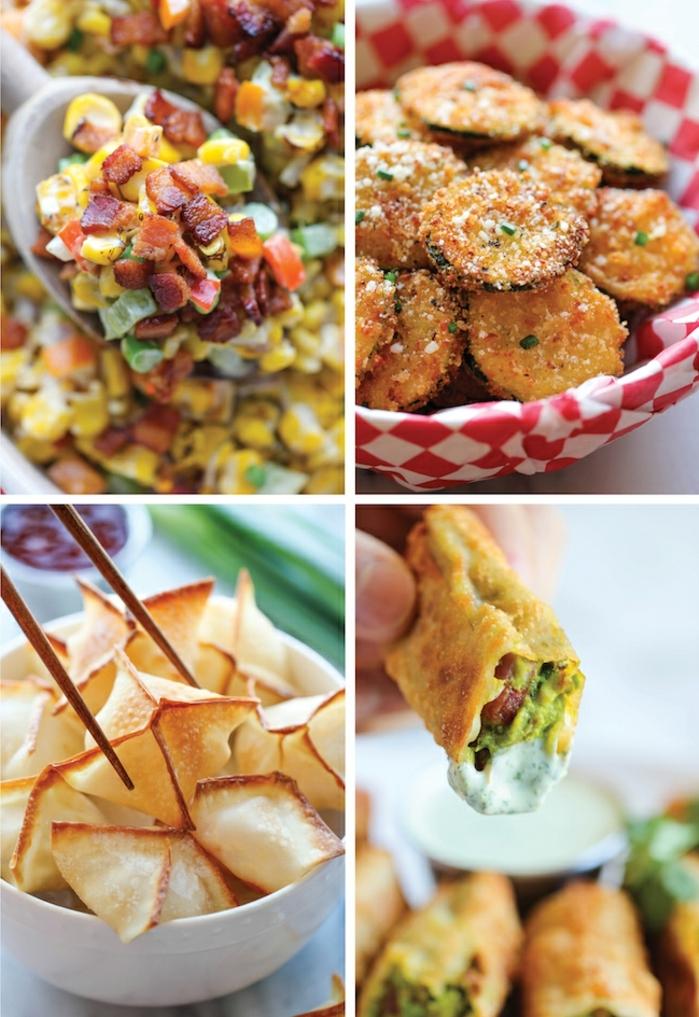 cuatro propuestas originales de canapes faciles en fotos, calabacines empanados crujientes