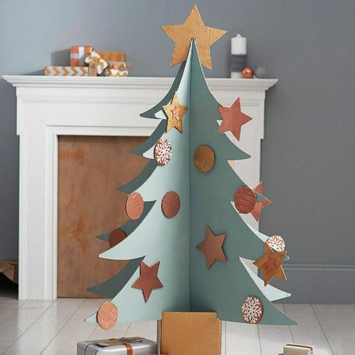 muebles de cartón y decoración casera de cartón, árbol navideño hecho de cartón decorado con mucho encanto
