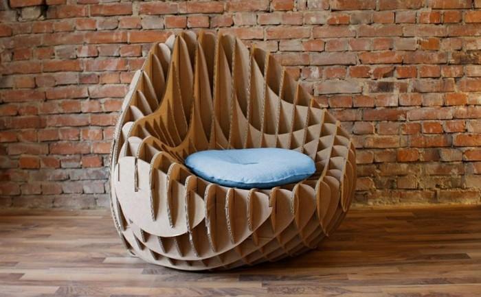 sillón de diseño super original para tu salón en estilo industrial, muebles de cartón originales