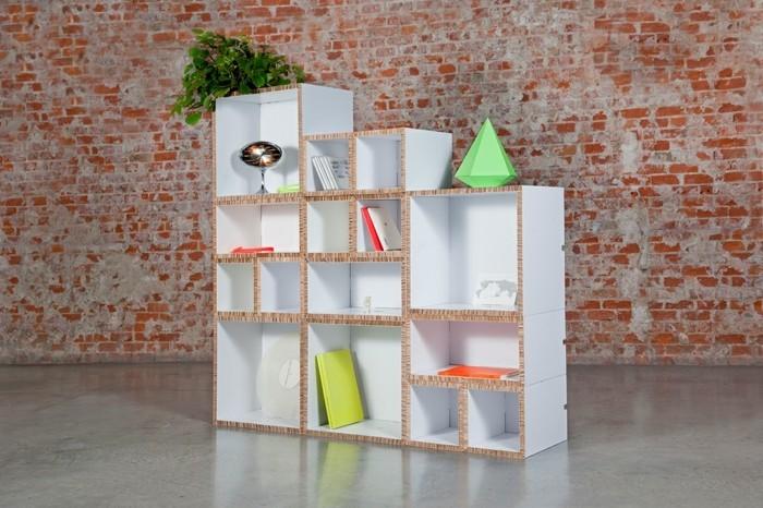 estantería moderna y original para tu salón en estilo industrial, muebles de cartón originales y fáciles de hacer