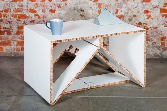 cómo hacer muebles de cartón originales y único en bonitas fotos, mesita de cartón pintada en blanco