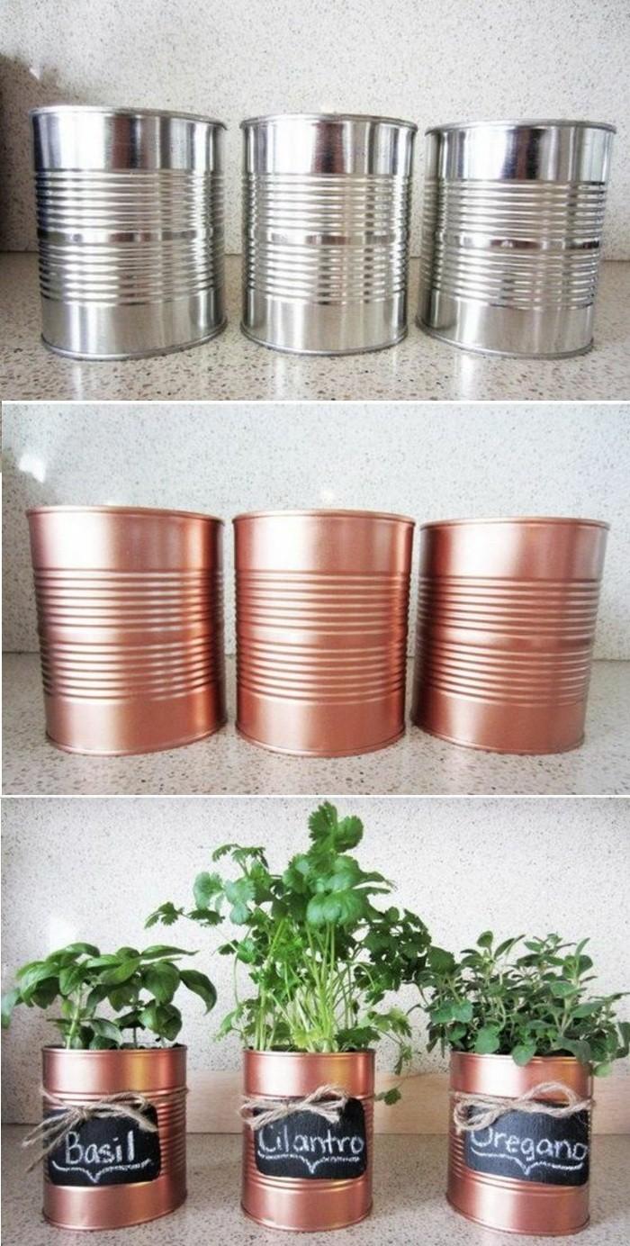 latas pintadas en color cobre para hacer maceteros DIY, ideas sobre cómo reciclar latas en imagines