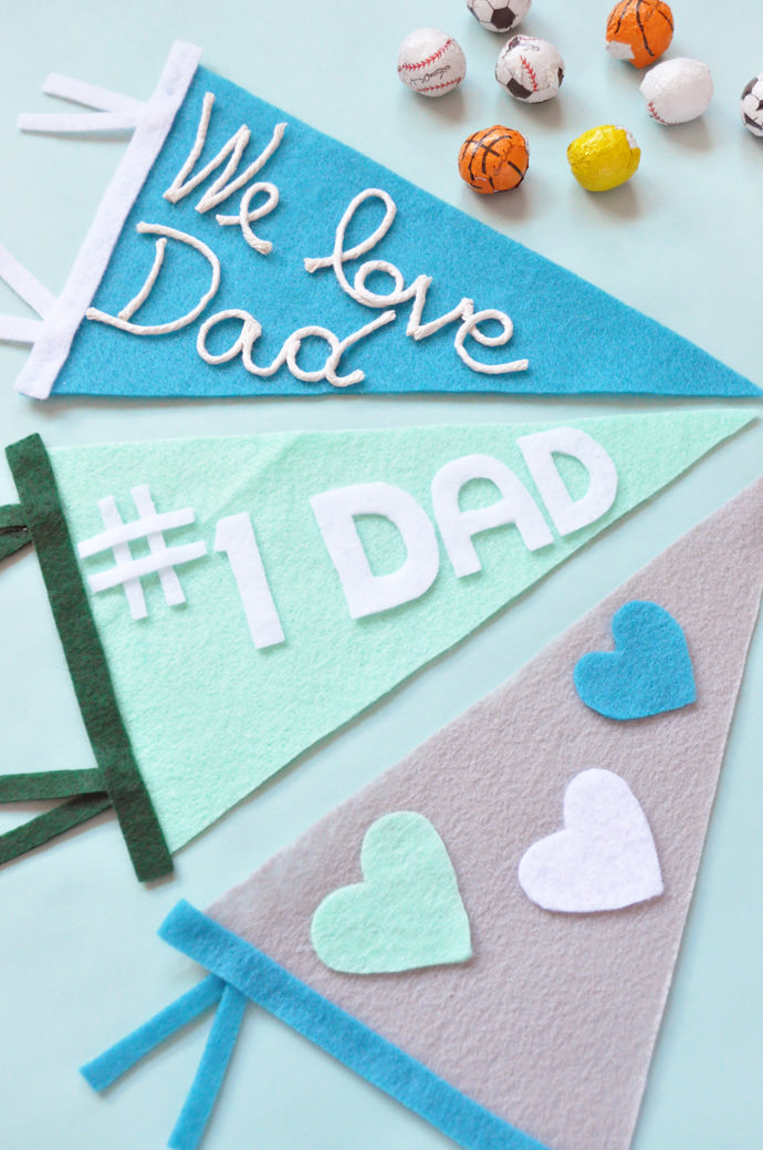preciosos ejemplos de regalos para el dia del padre hechos a mano, detalles en colores pastel hechos de fieltro