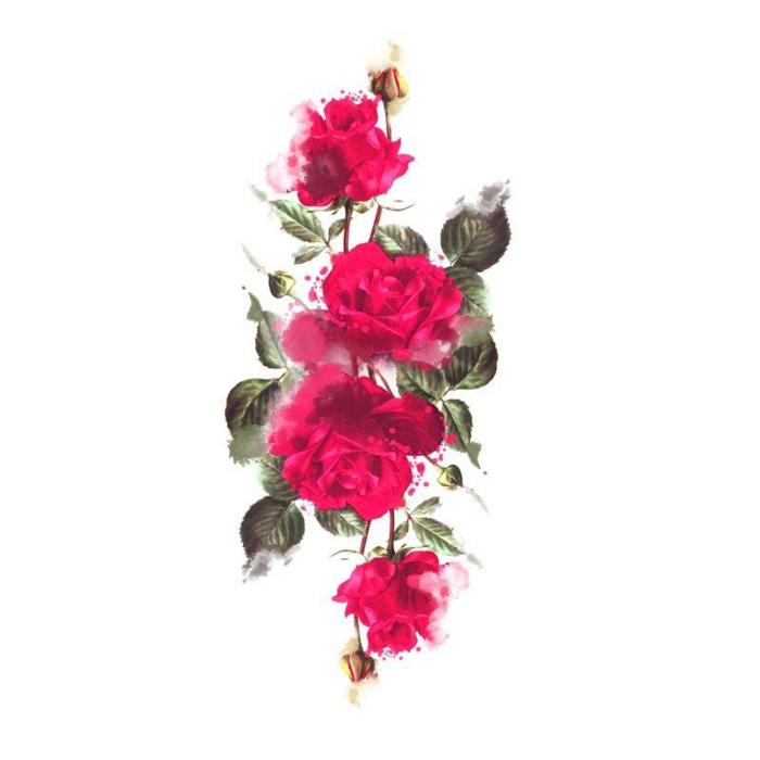 dibujos de rosas en colores para tatuajes, precioso dibujo con acuarelas rosas en color rosado