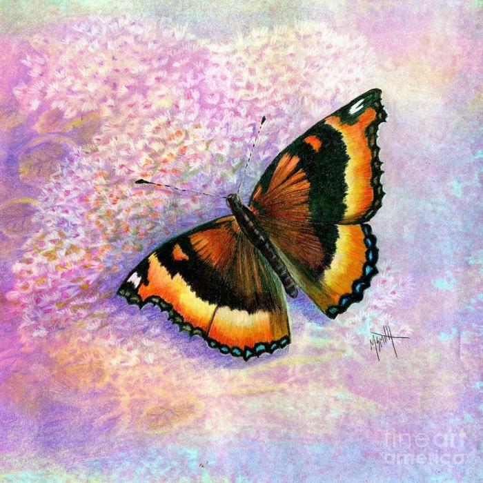 ideas de dibujos de mariposas originales y bonitos, mariposa colorida en fondo rosado