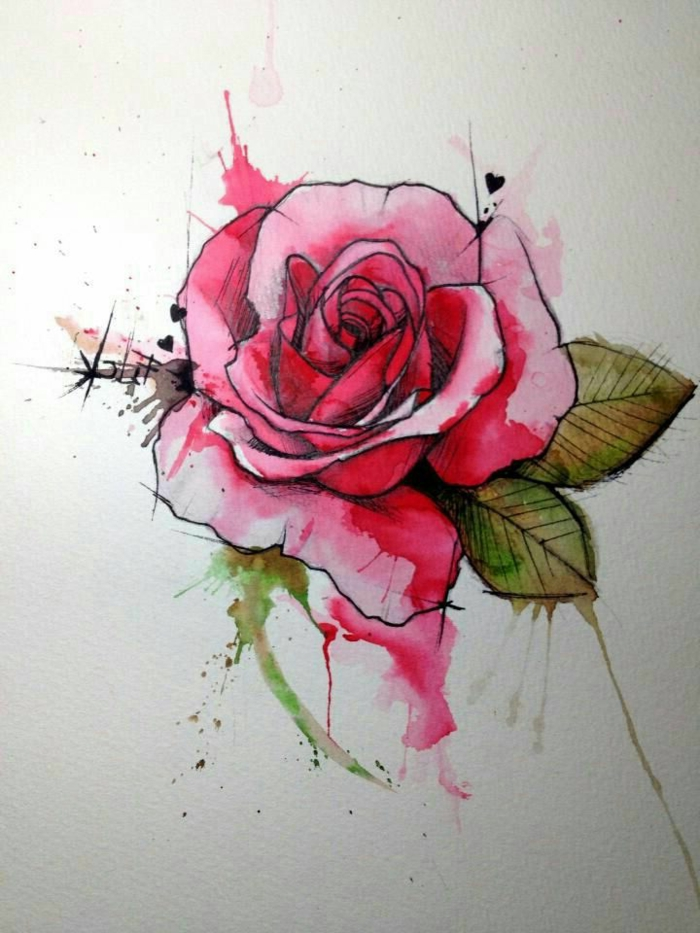 dibujos de rosas super bonitos, preciosa rosa en color rosado, ideas para tatuajes con acuarelas