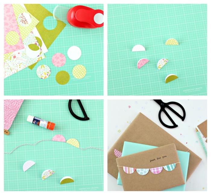ideas sobre como envolver regalos de forma original, circulos de papel decorativo, guirnalda DIY
