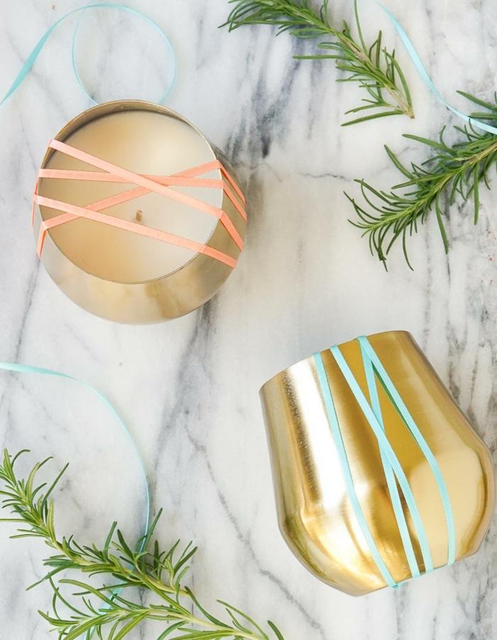 preciosas tazas en color cobrizo llenas de velas hechas a mano, ideas sobre cómo hacer velas en fotos