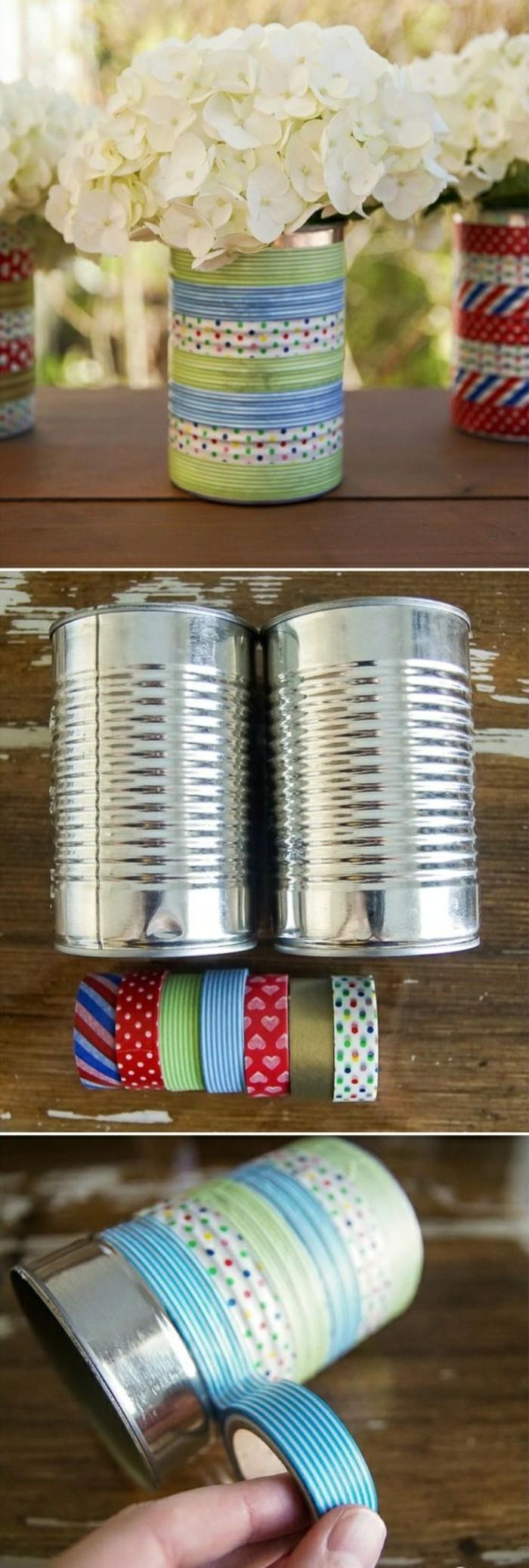reciclar latas y decorarlas con washi tape, ingeniosas propuestas sobre cómo puedes decorar la casa con latas