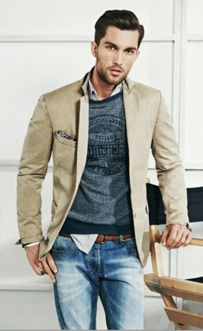 ideas de bussines casual hombre, como combinar unos vaqueros lavados con una chaqueta en estilo elegante