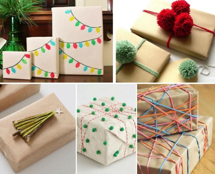 5 originales propuestas sobre cómo envolver regalos de Navidad de manera original, cajas de cartulina con detalles bonitos