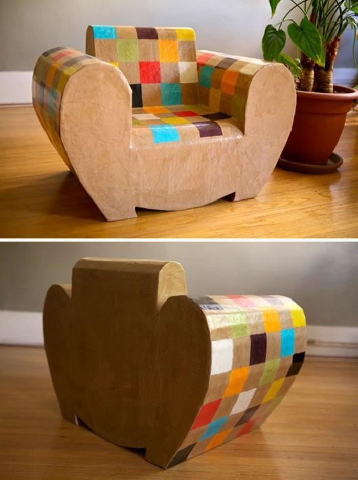 sillones modernos hechos de materiales reciclados, muebles con carton originales en fotos