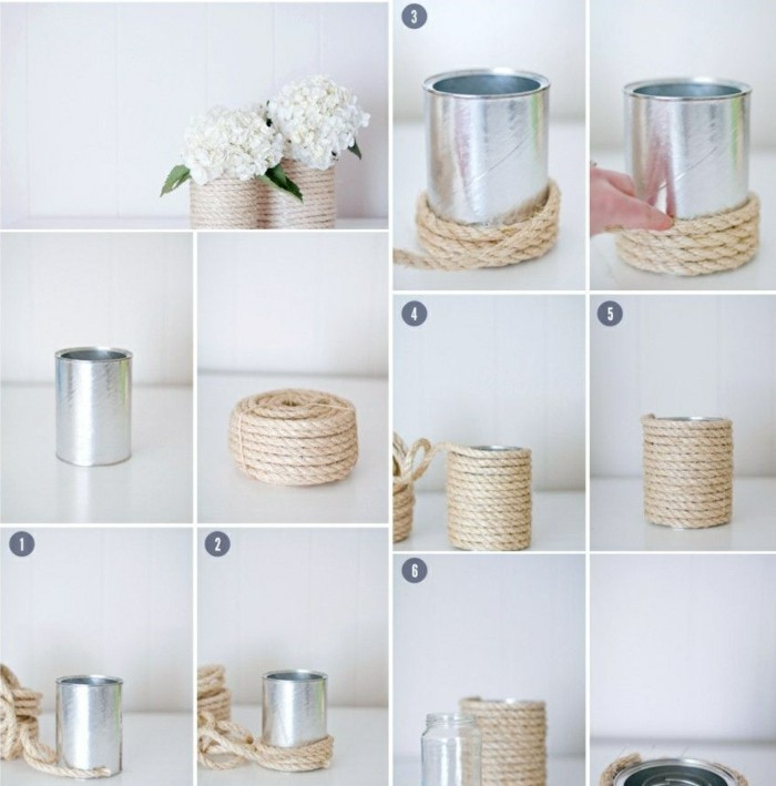 fotos de manualidades con tutoriales paso a paso, latas adornadas con cuerda para decorar la casa