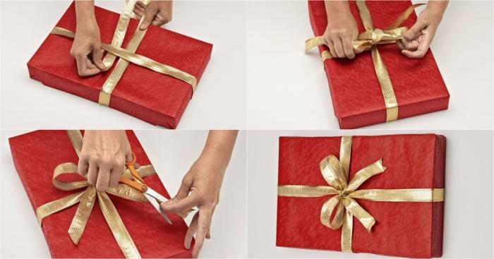 pasos para adornar una caja de regalo con cinta decorativa, papel embalaje rojo y cinta en dorado