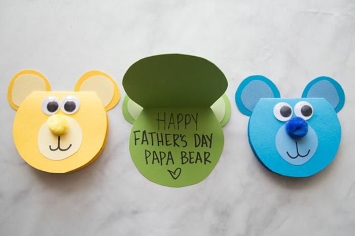 propuestas super tiernas de regalos para papa, tarjetas DIY en forma de osos en diferentes colores