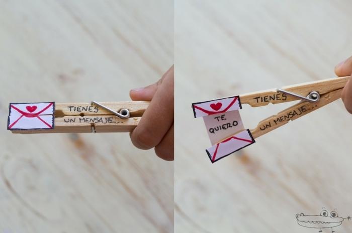 ideas de regalos para el dia del padre hechos a mano en imagines, pinza de madera con mensaje de amor