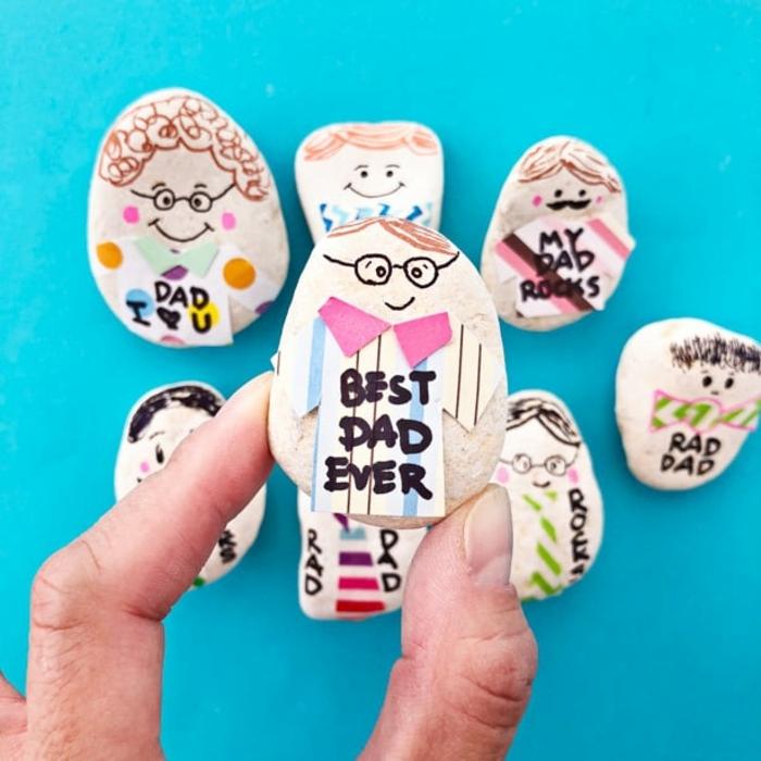 ideas originales de manualidades dia del padre, pequeñas piedras decoradas para el dia del padre