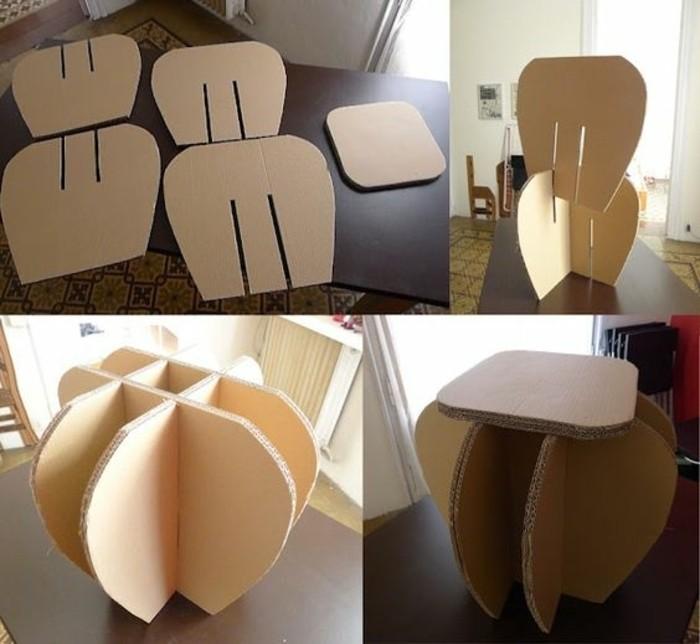 cómo hacer una pequeña mesa de cartón de diseño único paso a paso, muebles con carton originales
