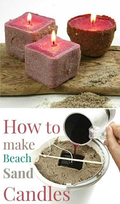 increíbles propuestas de como hacer velas en casa, velas aromáticas hechas con arena