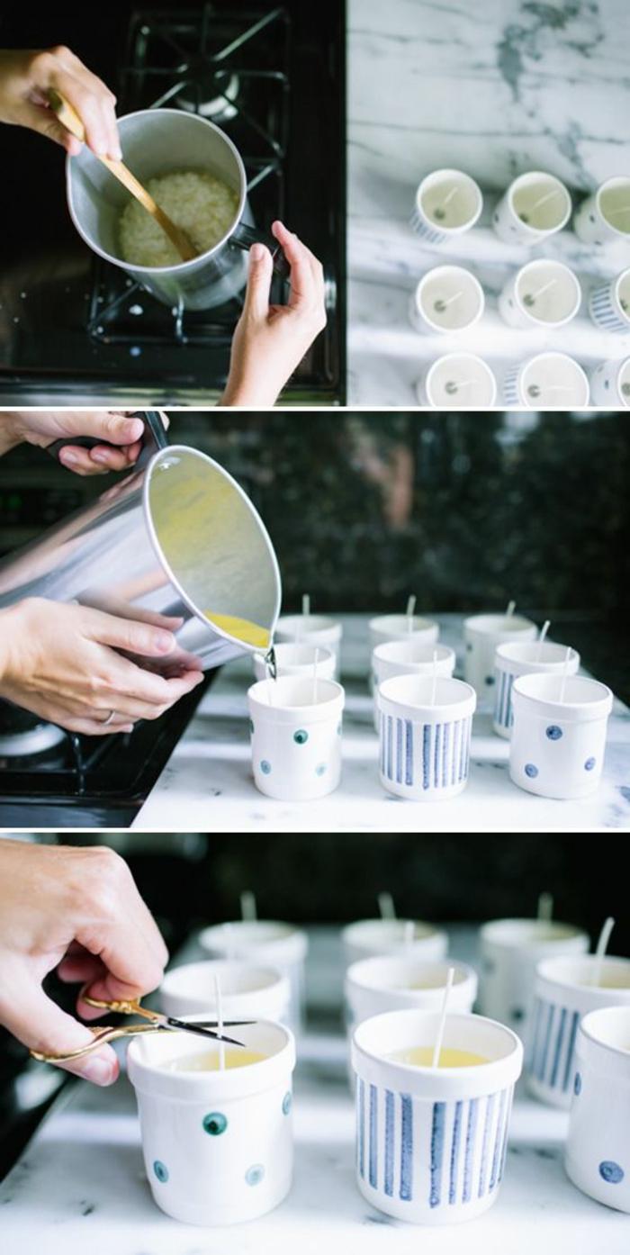 velas caseras en bonitas tazas de café, decoración mesa hecha a mano, centro de mesa original
